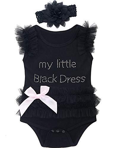 MOMBEBE COSLAND Baby Mädchen Prinzessin Tutu Body Kleid (Schwarz, 0-3 Monate)