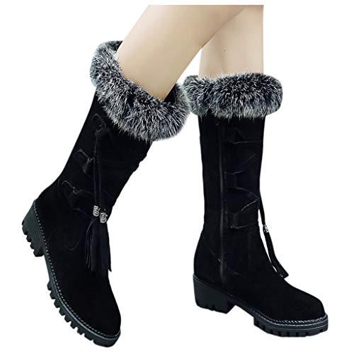 DNOQN Damen Schlupfstiefel Schnür Stiefel Winterstiefel Winter Freizeit Flock Freizeitschuhe Runder Zeh Schnüren Warm Halten Schneestiefel