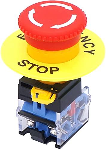 Taiss /22 mm 2 NC rojo seta Cap Emergencia Botón interruptor interruptor de botón de parada de emergencia con bloqueo de seta roja 10 A 440 V LA38A-02ZS