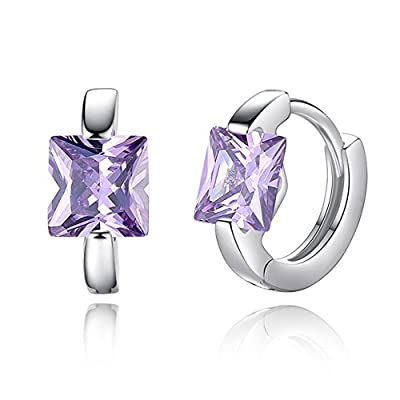 Spiritlele Amethyst CZ Small Hoop Earrings Square Crystal Huggie Earrings for Women