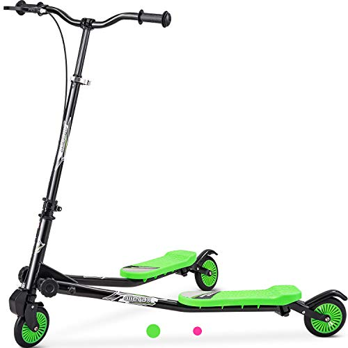 Merax Kids 3 Wheels Foldable Swing Dragon Tri Scooter Winged Push Motion, 3-10 Years Old, Boys and Girls Scooter (Green)