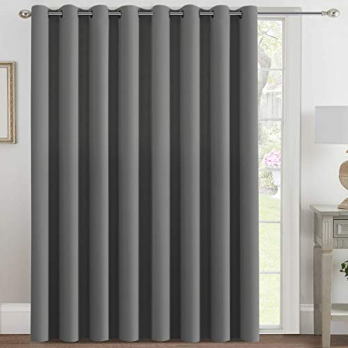H.VERSAILTEX Blackout Patio Curtains 100 x 108 Inches for Sliding Door Extral Wide Blackout Curtain Panels Thermal Insulated Room Divider - Grommet Top, 9  Tall by 8.5  Wide - Dove Grey