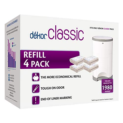 Dekor Classic Diaper Pail Refills | 4 Count | Most Economical Refill System | Quick & Easy to Replace | No Preset Bag Size – Use Only What You Need | Exclusive End-of-Liner Marking | Baby Powder Scent