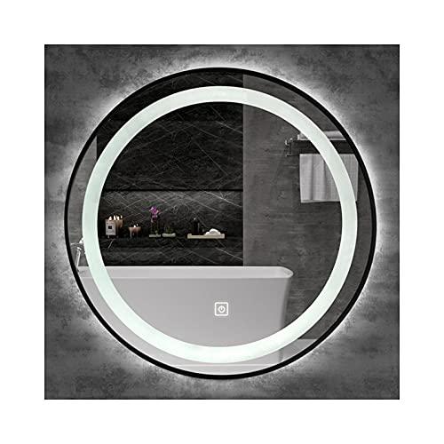 WYYUE Specchio da parete rotondo con illuminazione a LED, senza nebbia, con interruttore touch, cornice in alluminio, 6400 K, luce bianca fredda, per bagno, casa, hotel