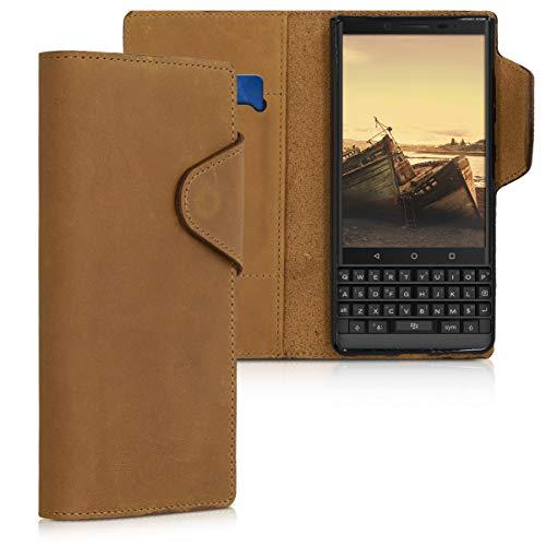 kalibri Wallet Hülle kompatibel mit BlackBerry KEYtwo LE (Key2 LE) - Hülle Leder - Handy Cover Handyhülle in Hellbraun