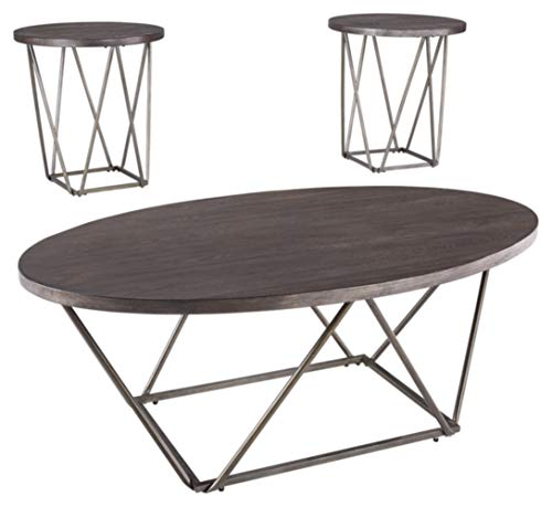 Signature Design by Ashley - Neimhurst 3-Piece Table Set - Coffee Table and Two End Tables, Brown Wood