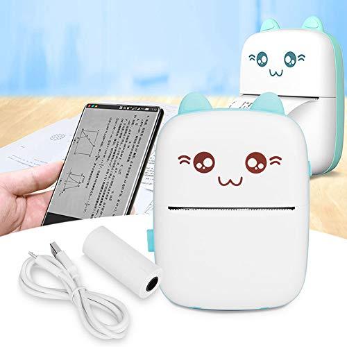 Mini Impresora fotográfica, Impresora fotográfica portátil con reconocimiento de Texto para teléfonos móviles, Bonita para grabación de Preguntas incorrectas(Blue)