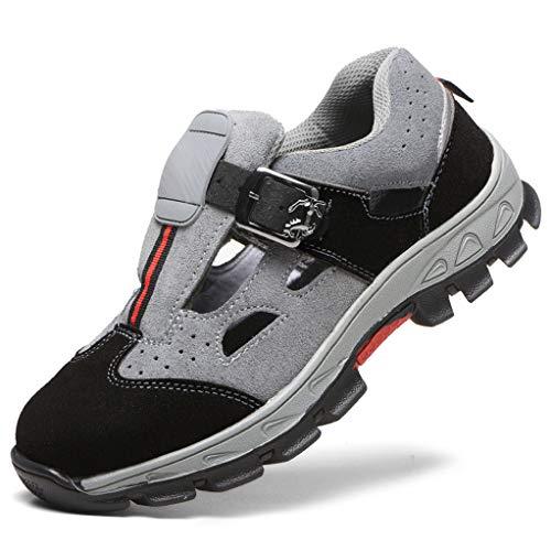 Sicherheits-Sandalen Sicherheitsschuhe Arbeitsschuhe Herren, S1 Sicherheit Stahlkappe Stahlsohle Anti-Perforations Luftdurchlässige Schuhe,Gray,EU42