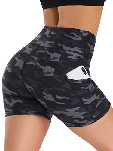 CAMPSNAIL Yoga Biker Shorts for Women High Waist - Workout Running Compression Exercise Gym Shorts Seamless Side Pockets