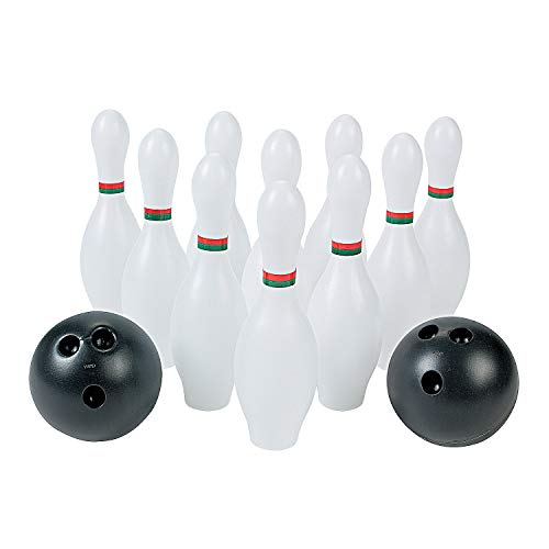 Kids Bowling Set 10 Plastic Pins and 2 Balls - Fun Toys and Games