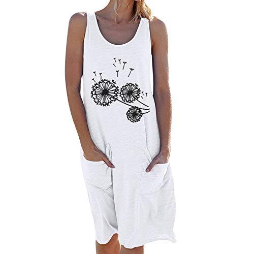 NAQUSHA Donne O Collo Tasche Casual Senza Maniche Maxi Abito Spiaggia Allentato Estate Partito Vestito Da Sera Appuntamento Elegante Bretella Gonna B-bianco S