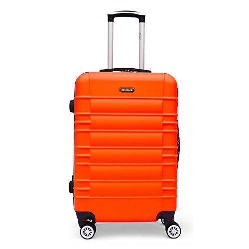 SHAIK Series CLASSIC DESIGN JFK Trolley Suitcase 3 sizes M   L   XL  Set - 40/78/124 Liters Hard & Flexible Case Carry On Luggage Travel Bags, 360⁰ Rotation Wheels (L   24', Orange)