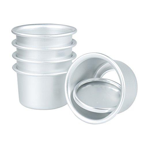 dPois 5 pc Moldes Redondos para Pastel Pan de Aluminio Profundidad Molde Repostería Magdalena Desmontable Resistente al Calor Reutilizable Mini Cake Pan (Diámetro 6cm) Plateado 2