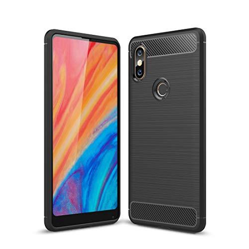 Zhouzl Custodie morbide per telefoni cellulari TPU Antiurto in Fibra di Carbonio Spazzolato Texture for Xiaomi Mi Mix 2S (Nero) Custodie morbide (Colore : Black)