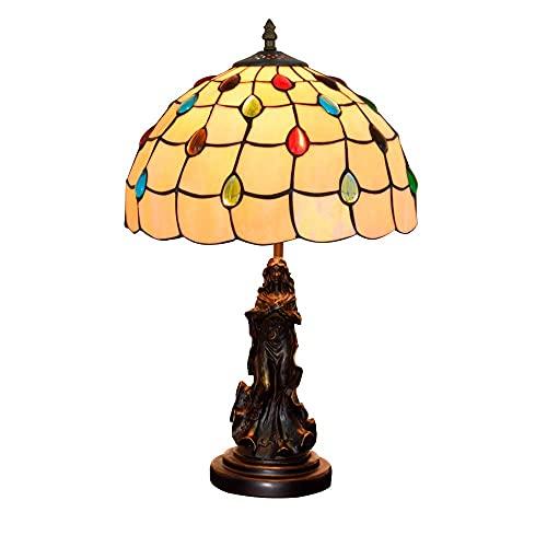 DIMPLEYA Lámpara de Mesa Creativa Lámpara de Mesa de Tiffany Amarilla, Vidrio con Mano, luz de Escritorio de Perlas de Cristal Multicolor Retro, zócalo de Resina
