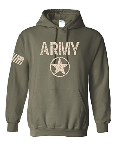 US Army Star Logo with Flag on Sleeve Hoodie - XL Military Green (ATA1453)