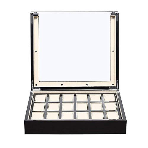 Caja De Relojes Caja De Relojes 18 Ranuras Caja De Almacenamiento De ExhibicióN De Relojes De Madera Con Tapa De Vidrio Negra Para ExhibicióN De Relojes Para Hombres Y Mujeres (Color: Negro, TamañO: 3