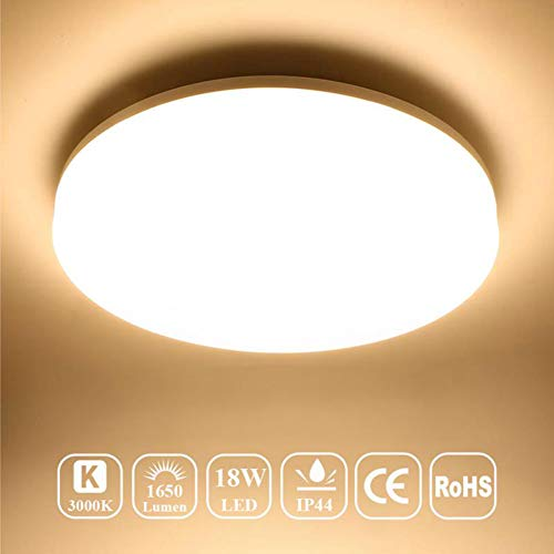 Airand Ceiling Light LED 3000K Flush Mount 18W Ceiling Lights Fixture 9.5'' Round LED Ceiling Lamps for Kitchen, Hallway, Bathroom, Stairwell, 1650LM, Waterproof IP44, 80Ra (Warm White)