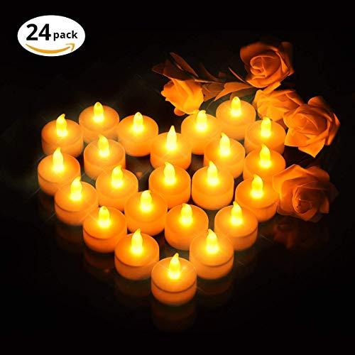 VicTsing 24 Velas de LED Pequeñas con Efecto Llama, Velas Electricas Decorativas con Pilas Incorporadas de 100 Horas para Halloween, Navidad, Jardin, Baño, Boda, Fiesta y Cumpleaños