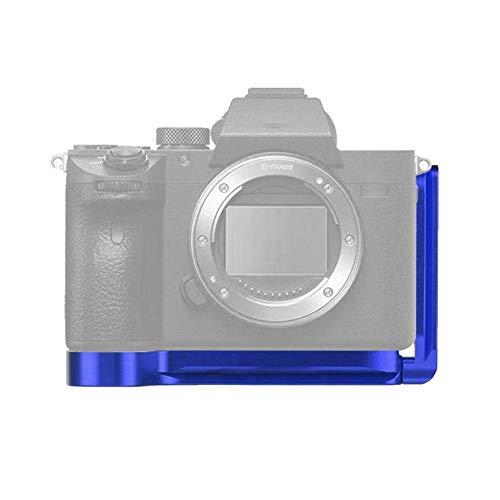 Empuñadura de Placa en L para cámara con Montaje en Zapata fría, Soporte de Montaje en L Vertical Placa de liberación rápida, Agarre Vertical para Soporte de cámara para Sony A7M3/A7R3/A9(Azul)