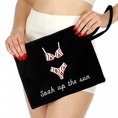 Knitting Factory Water Proof Cotton Towel Wet Bikini Bag Soak Up The Sun Selection (Black)