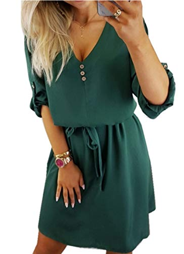 ZIYYOOHY Damen Casual Blusenkleid Chiffon Button V-Ausschnitt 3/4 Ärmel Freizeit Mini Sommerkleid Mit Gürtel (M, Armee grün)