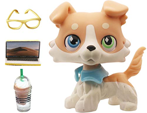 lpsloverqa Vanilla Collie Blonde Yellow 2 Different Eyes with Accessories Lot Dog Figures Collection Boys Girls Kids Gift Set