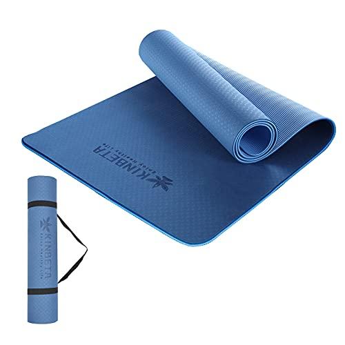 KINBETA Gymnastikmatte,Yogamatte Pilatesmatte rutschfest aus TPE,Übungsmatte Sportgeräte-Matten Sportmatte Trainingsmatten für Yoga,Pilates, Fitness-183 x 61 x 0,6cm