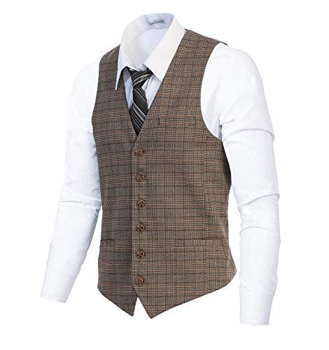 Gioberti Men's 6 Button Slim Fit Formal Herringbone Tweed Vest, Checkered Brown, 3X Large