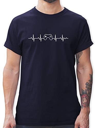 Nerds & Geeks - Herzschlag Gaming Controller - S - Navy Blau - Tshirt Gamer 176 - L190 - Tshirt Herren und Männer T-Shirts