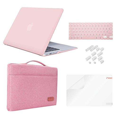 MacBook Pro 15' Case (2018 2017 2016 Release) Bundle 5 in1,iCasso Hard Case,Sleeve,Screen Protector,Keyboard Cover & Dust Plug for MacBook Pro 15' Model A1990/A1707 with Touch Bar - Rose Quartz