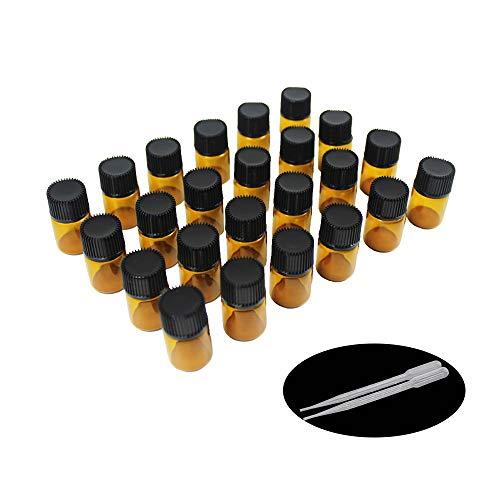 Yizhao Ambar Botellas de Aceite esencial de Vidrio Vacías 2ml,con Reductor de Orificio y Tapa,Para Aceites Esenciales, E-Líquidos,Aromaterapia,Perfumes,Masajes,Laboratorio de Química – 24 Pcs