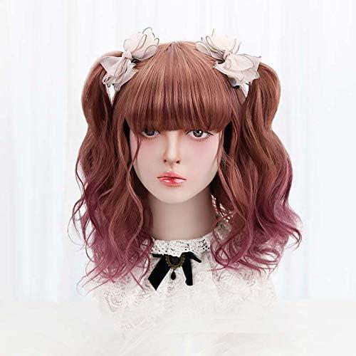 ventas calientes 18 Sintético Cosplay Corto Lolita Lolita Lolita Peluca Morado marrón Ombre Pelo Ondulado Japón Harajuku Pelucas Diarias Para mujeres Con Flequillo resistente al calor  en venta en línea