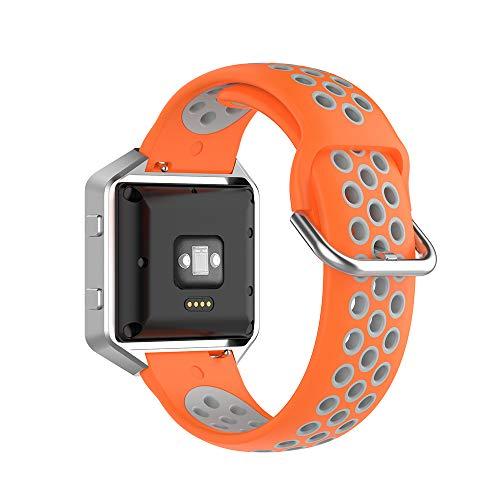 KINOEHOO Correas para relojes Compatible con Fitbit Versa/Versa 2/ Versa Lite/Blaze Pulseras de repuesto.Correas para relojesde siliCompatible cona.(Gris anaranjado)