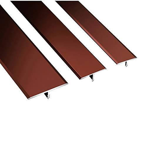 NIBABA Easy to Install Alfombra Perfil Cubierta Transición Transición Laminado 2 Paquete 1.5M T Forma T Puerta de Aluminio Barras de Piso Rojo Tira de umbral Aluminum Alloy Floor Strips