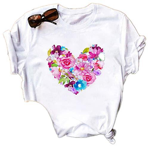 Maglietta da donna estiva, casual, con motivo a cuore, stampa streetwear a collo alto, taglia asiatica 15 L