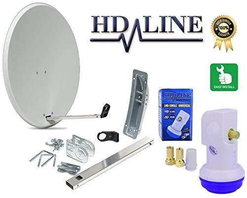 HD-LINE Satellitenschüssel Set -Sat Anntenne Schüssel - Single Lnb Montagezubehör und Lnb mit F-Stecker