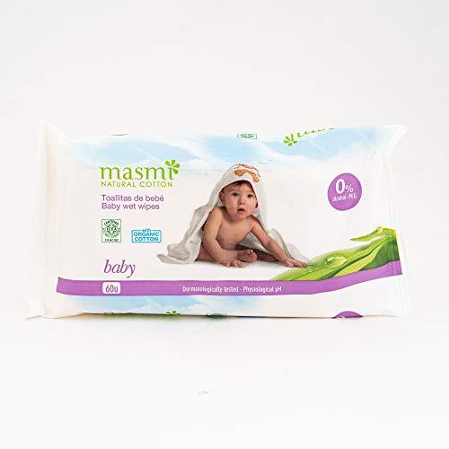 masmi organische natte doekjes voor babys 60 stuks met de kalmerende en verzorgende extracten van organische calendula, balsem en kamille