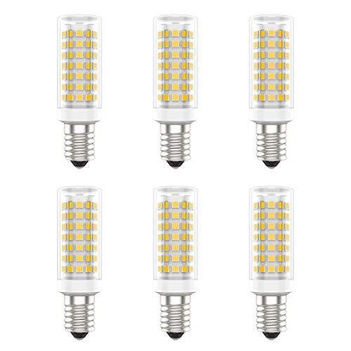 Bombillas LED E14, Sin Parpadeo, AC220-240V, 9W (Equivalente a 90W), Blanco Cálido (3000K), 800 Lúmenes, CRI80, No Regulable, Paquete de 6 - (Blanco Cálido, 9W)