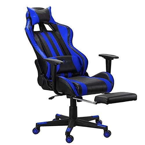 SuRose Sillón reclinable de oficina ajustable con elevación giratoria de piel sintética para oficina, computadora, juegos, con reposapiés para muebles para el hogar (color 0834)