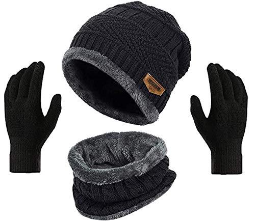 DIGITAL SHOPEE Winter Men Women Knit Beanie Skull Cap Hat Neck Warmer Scarf and Woolen Gloves Set (3 Piece), Black