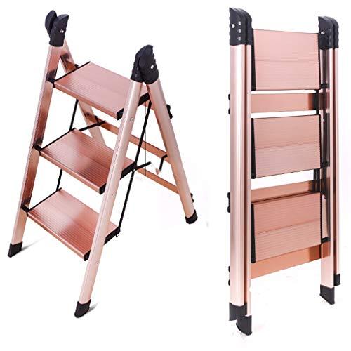 Escaleras de tijera 2 en 1 de aluminio liviano Escalera de 3 peldaños Escalera de peldaño de diseño de conexión invisible elegante con escalera de pedal antideslizante resistente y ancha Escalera pleg