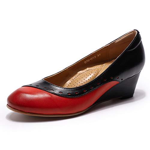 Mona flying Damskie buty ze skóry Comfort okrągłe palce Wedges czółenka baleriny z klinowym obcasem, wielokolorowa - czerwony czarmy - 39.5 EU