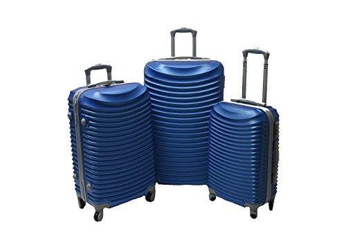 JustGlam - Set 3 Trolley set2030, valige rigide in ABS policarbonato, bagaglio piccolo da cabina, chiusura con lucchetto / royal