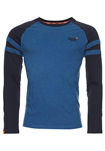 Superdry OL Softball Ringer LS Top Camiseta sin Mangas, Azul (Rich Blue Marl Bif), M para Hombre