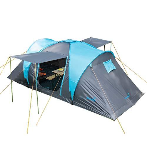 Skandika Kuppelzelt Hammerfest für 4 Personen | Campingzelt mit eingenähtem Zeltboden, Sleeper Technologie mit schwarzen Kabinen, 2 Schlafkabinen, Moskitonetze, 2 m Stehhöhe, 2000 mm Wassersäule