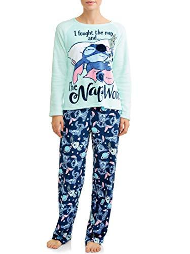 Women s Lilo and Stitch Super Minky Plush 2-Piece Pajama Set (X-Large 16-18, Teal Stitch)