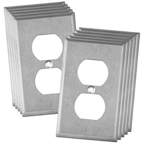 """ENERLITES Duplex Receptacle Outlet Metal Wall Plate, Stainless Steel Outlet Cover, Size 1-Gang 4.50"""" x 2.76"""", 7721-10PCS, 430 Stainless Steel, UL Listed, Silver (10 Pack)"""
