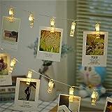 Zorara 6M 40 Led Guirlande Lumineuse Photo, Guirlande Photo Led, Guirlande Porte Photo Mural, Porte Photo Pince pour Fête, Décoration, Mariage