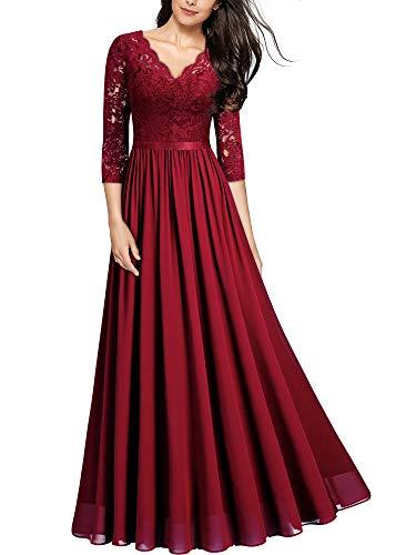 MIUSOL Abendkleider Damen Elegant Vintage Hochzeit Spitze Chiffon Faltenrock Prom Langes Kleid Rot L
